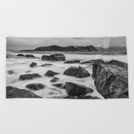 Rocky Ocean Black And White Beach Towel