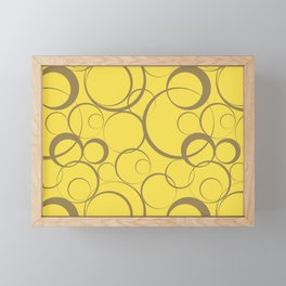 Yellow and Brown Funky Ring Pattern V17 2021 Color of the Year Illuminating & Accent Shade Framed Mini Art Print