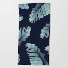 Navy Blue Banana Leaves Dream #2 #tropical #decor #art #society6 Beach Towel