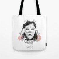 bjork Tote Bags featuring Bjork  by Anfetamina