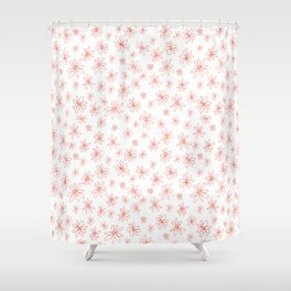 Loopy Flowers - coral on white Shower Curtain