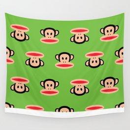 Julius Monkey Pattern by Paul Frank - Green Wall Tapestry