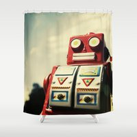 robot Shower Curtains featuring Robot by Shannon Betz