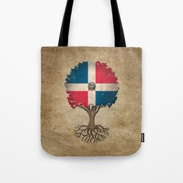 Vintage Tree of Life with Flag of Dominican Republic Tote Bag