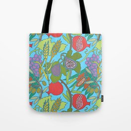 Seven Species Botanical Fruit and Grain with Aqua Background Tote Bag