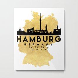 HAMBURG GERMANY SILHOUETTE SKYLINE MAP ART Metal Print