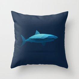 Geometric Shark - Modern Animal Art Throw Pillow