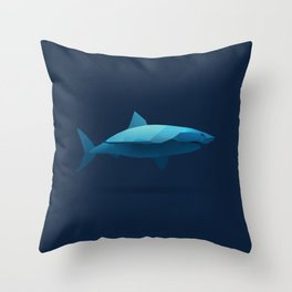 Geometric Shark - Modern Animal Art Throw Pillow