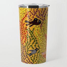 Hanging gardens, birds and flowers, kashmiri paper mache pattern Travel Mug