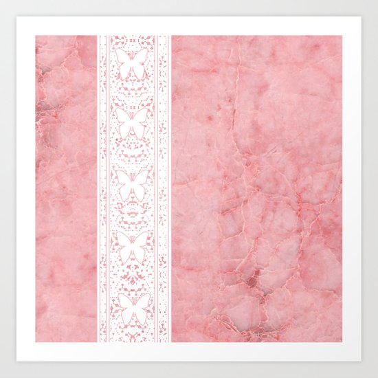 Delicate White Stripe Butterfly Pattern Pink Texure Design by artaddiction45