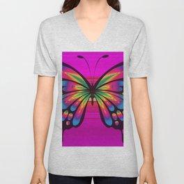 Vibrant, Decorative Butterfly Unisex V-Neck