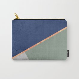 Navy Sage Gray Gold Geometric Carry-All Pouch