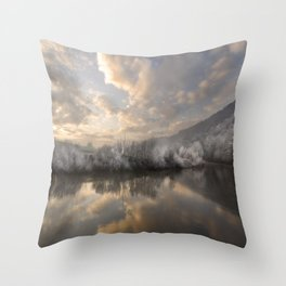 Wintery morning by the  river Throw Pillow