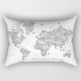 Adventure awaits... detailed world map in grayscale watercolor Rectangular Pillow