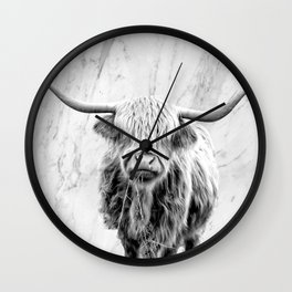 Highland Cow on Marble Black and White Wall Clock