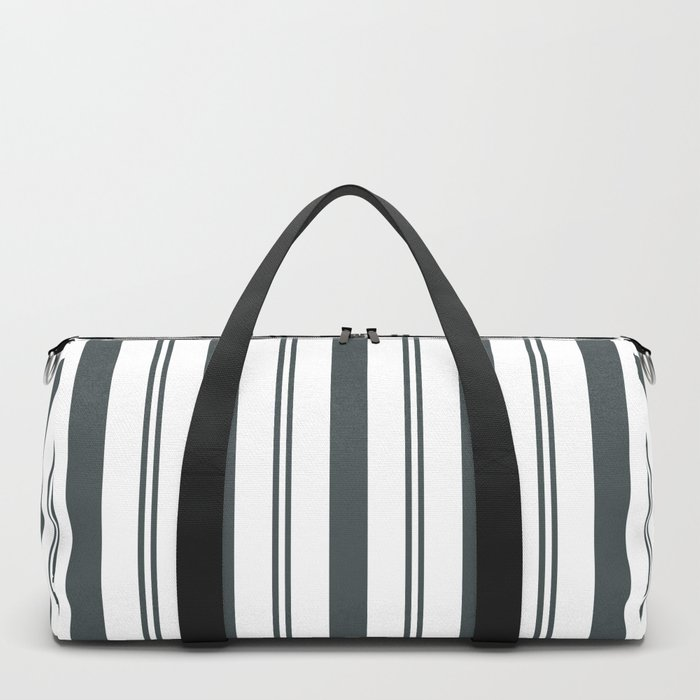 PPG Night Watch Pewter Green & White Wide & Narrow Vertical Lines Stripe Pattern Duffle Bag