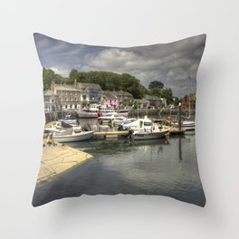 Padstow Harbour Reflected Throw Pillow