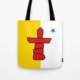 Nunavut territory flag- Authentic version with Inukshuk and blue star Tote Bag