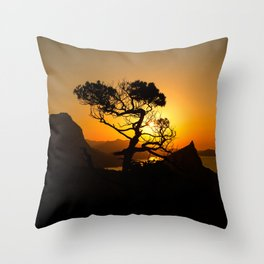 Sunrise in mountains with tree and sea Throw Pillow