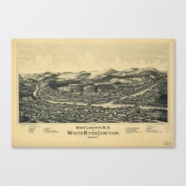 West Lebanon, New Hampshire and White River Junction, Vermont (1889) Canvas Print
