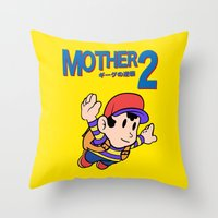 earthbound Throw Pillows featuring Mother 2 / Earthbound / Super Mario Bros. 3 Style by Studio Momo╰༼ ಠ益ಠ ༽