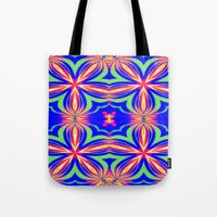 psychedelic art Tote Bags featuring Psychedelic  by 2sweet4words Designs