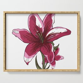 Lily Flower Illustration Serving Tray