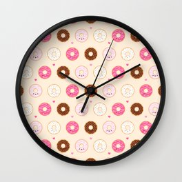 Cute Little Donuts on Cream Wall Clock