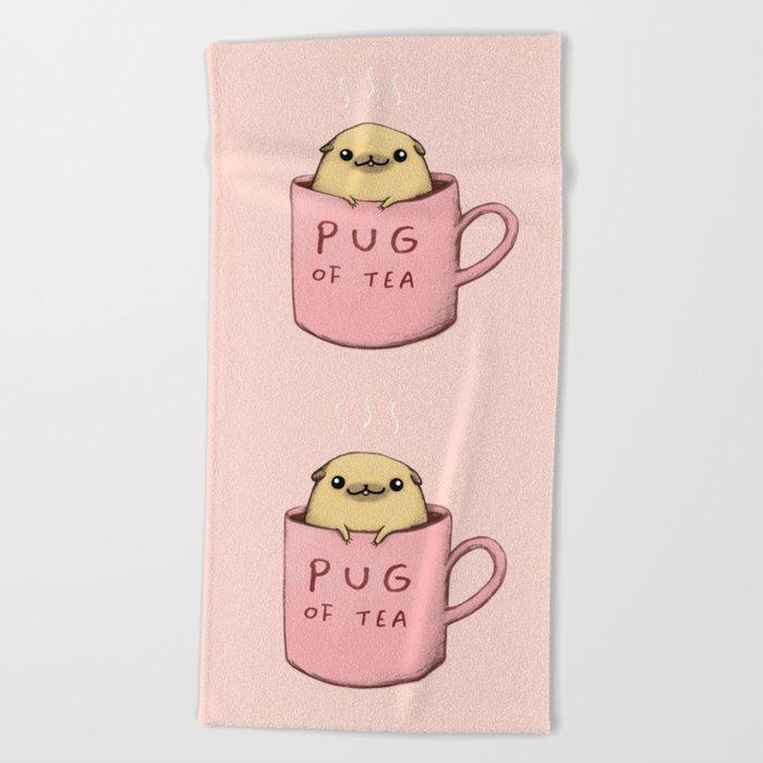 Pug of Tea Beach Towel