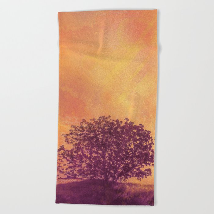 Red Violet Lone Tree and Fall Sunlight Beach Towel