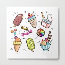 Flying Sweets Party Metal Print