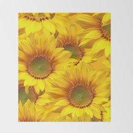 Yellow Mellow Sunflower Bouquet #decor #society6 #buyart Throw Blanket