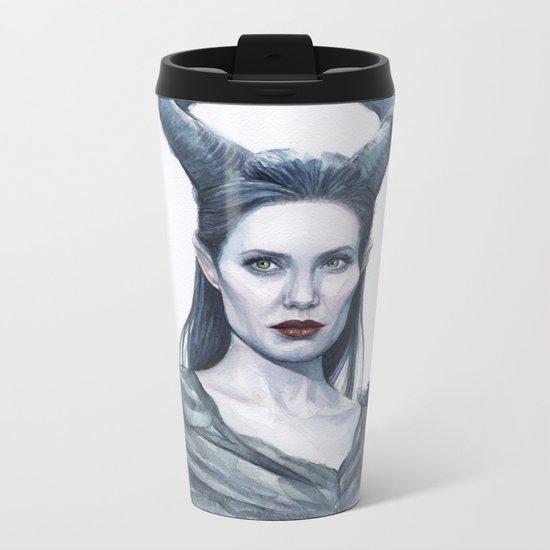 Maleficent Watercolor Portrait Metal Travel Mug