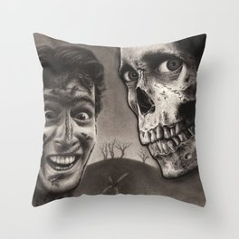 Ash with Skull and Cross - Evil Dead 2 Charcoal and Graphite Drawing Art Throw Pillow