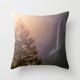 Sunrise over Bridalveil Falls, Yosemite, CA Throw Pillow
