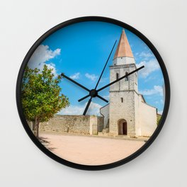 Square of the Glagolitic Monks with Church of St Francis, Town of Krk on the island of Krk, Croatia Wall Clock