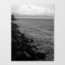 Rock and Ocean B&W Canvas Print