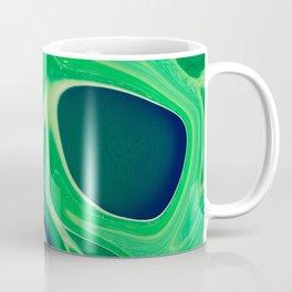 Harmonious Greens Swirls and Cells - Abstract Art, Digital Fluid Art Coffee Mug