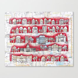 Madison, WI Neighborhoods Continuous Line Drawing on vintage map UW Badgers Canvas Print