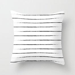 Minimal Simple White Background Black Lines Stripes Throw Pillow