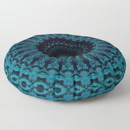 Mandala in light and dark blue tones Floor Pillow
