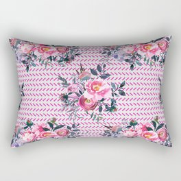 Pink Floral and Herringbone Pattern Rectangular Pillow
