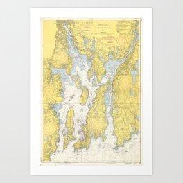 Vintage Map of The Narragansett Bay (1852) Art Print