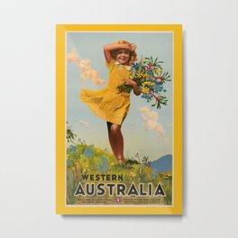 Western Australia vintage travel ad Metal Print