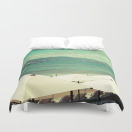 Private beach in Cannes - French riviera Duvet Cover