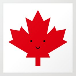 Happy Canada Day Maple Leaf (Red) Art Print