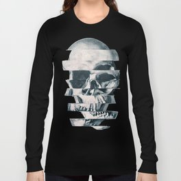 Glitch Skull Mono Long Sleeve T-shirt