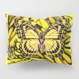 GOLDEN YELLOW MONARCH BUTTERFLIES MELODY Pillow Sham