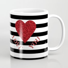 LOVE YOU Valentine print. Red glitter heart and black stripes congratulation card Coffee Mug