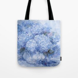 Hydrangeas in Blue Tote Bag
